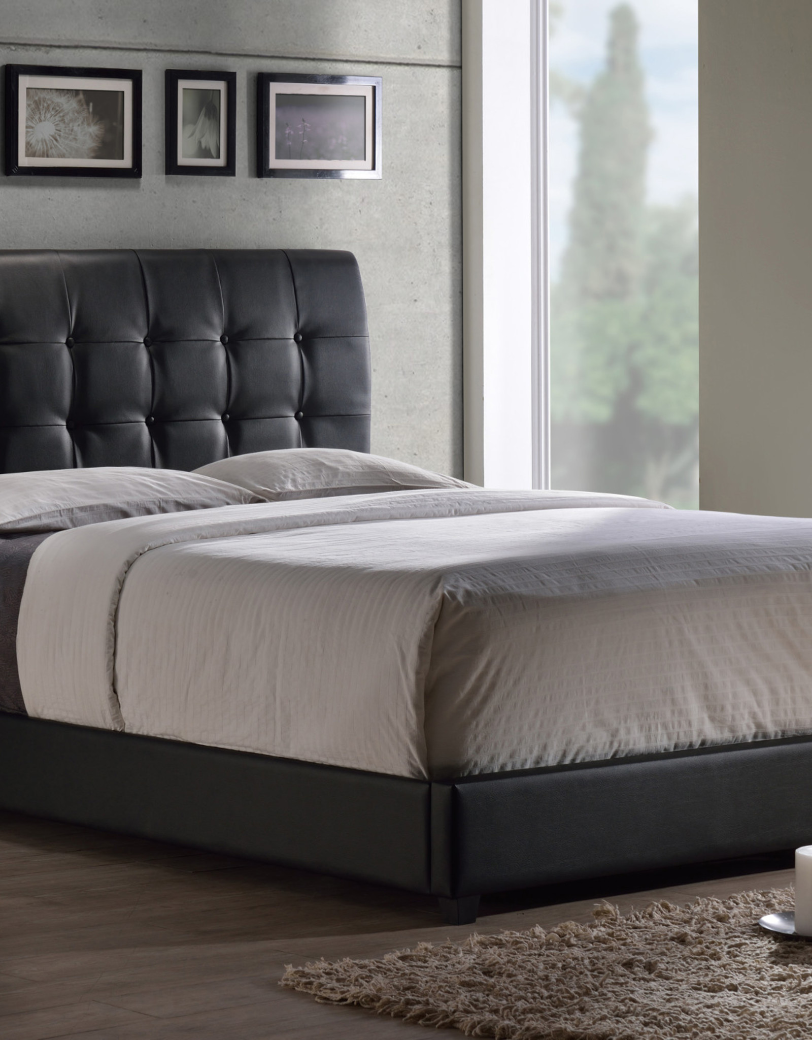 Lusso Bed (BLACK) (Includes headboard, footboard, and rails)