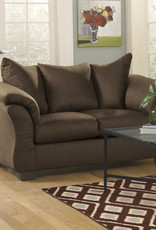 Darcy Loveseat (Cafe) Displayed in Showroom in Salsa