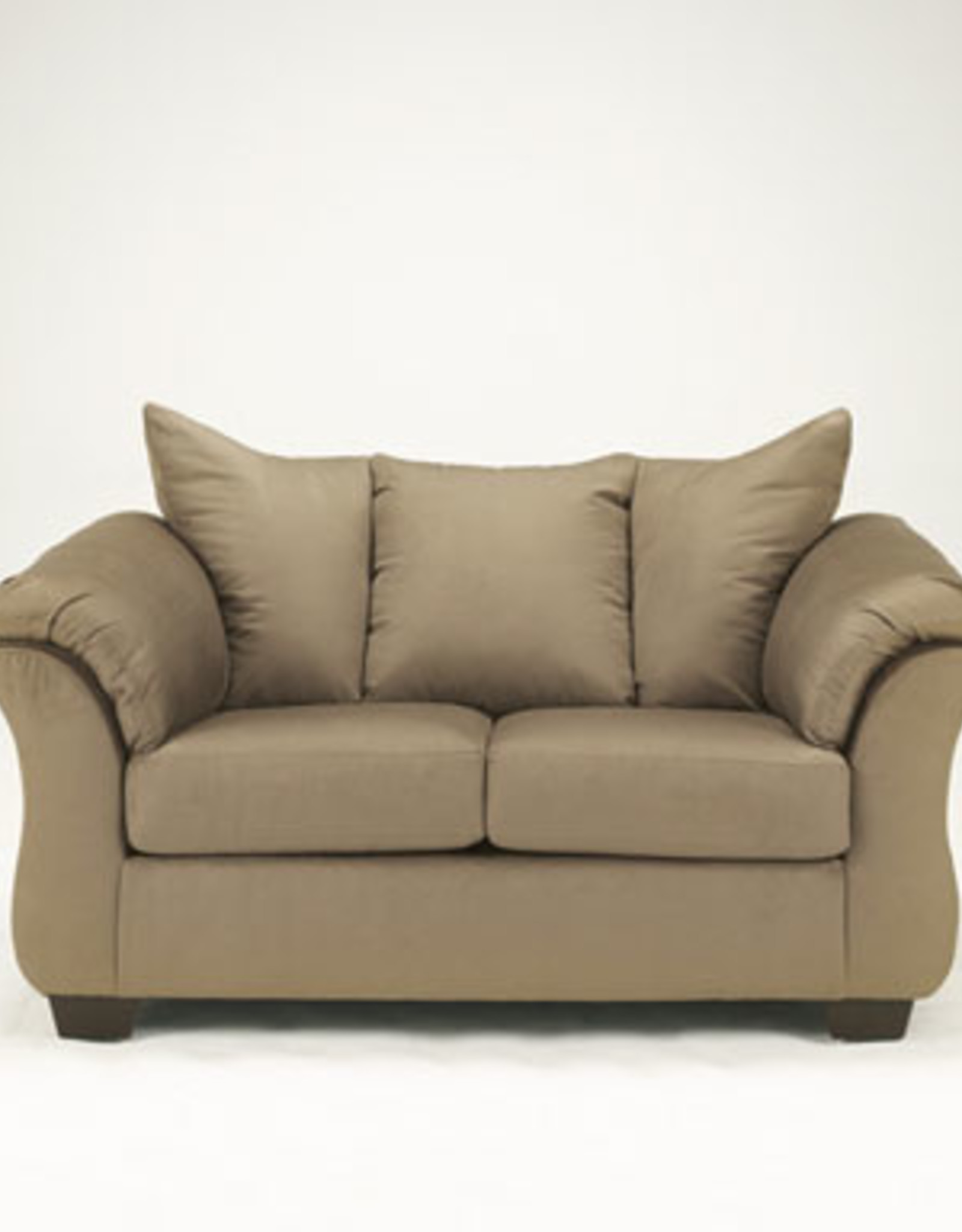 Darcy Loveseat (Mocha) Displayed in Showroom in Salsa