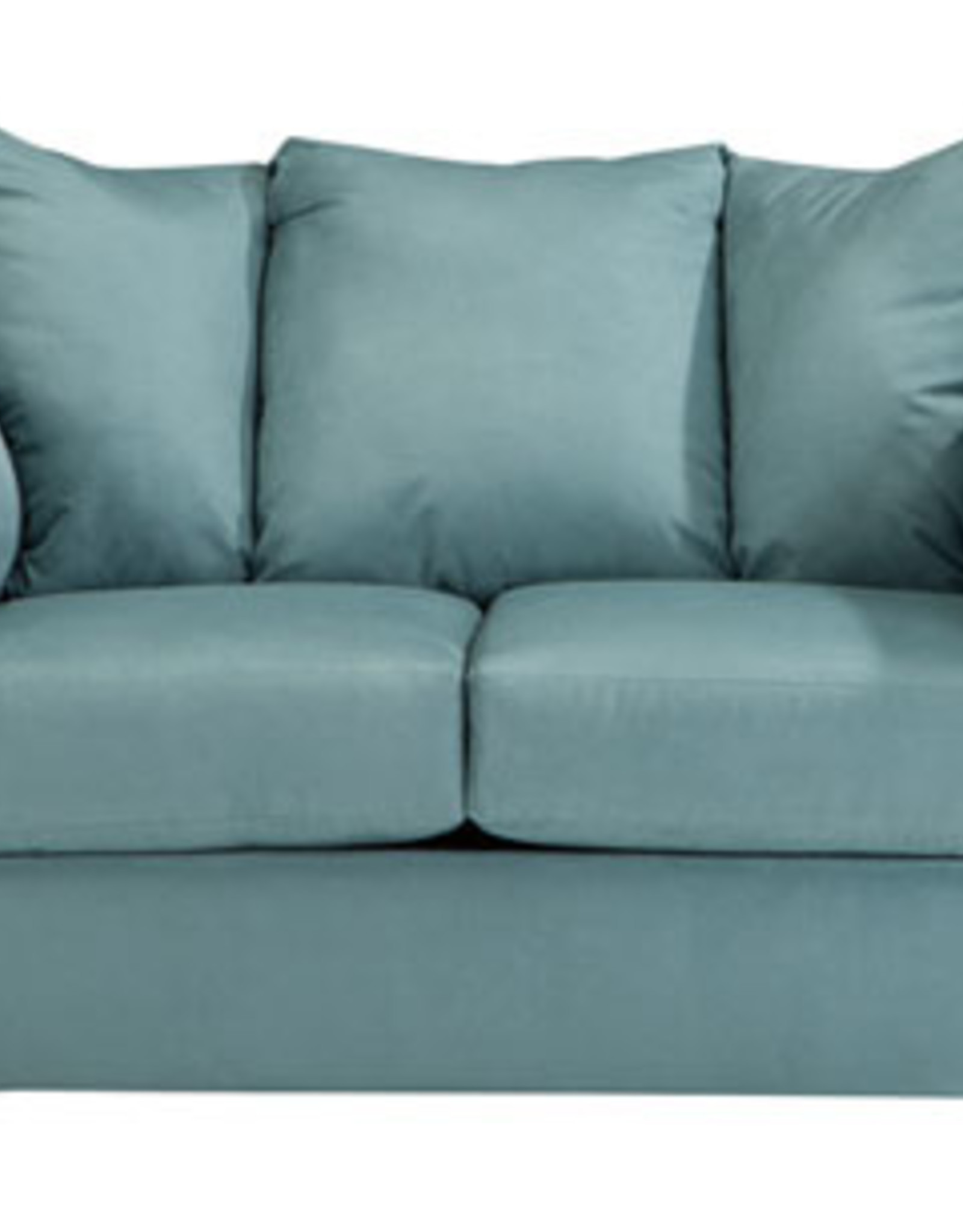 Darcy Loveseat (Sky) Displayed in Showroom in Salsa
