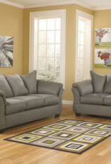 Darcy Loveseat (Cobblestone) Displayed in Salsa in Showroom