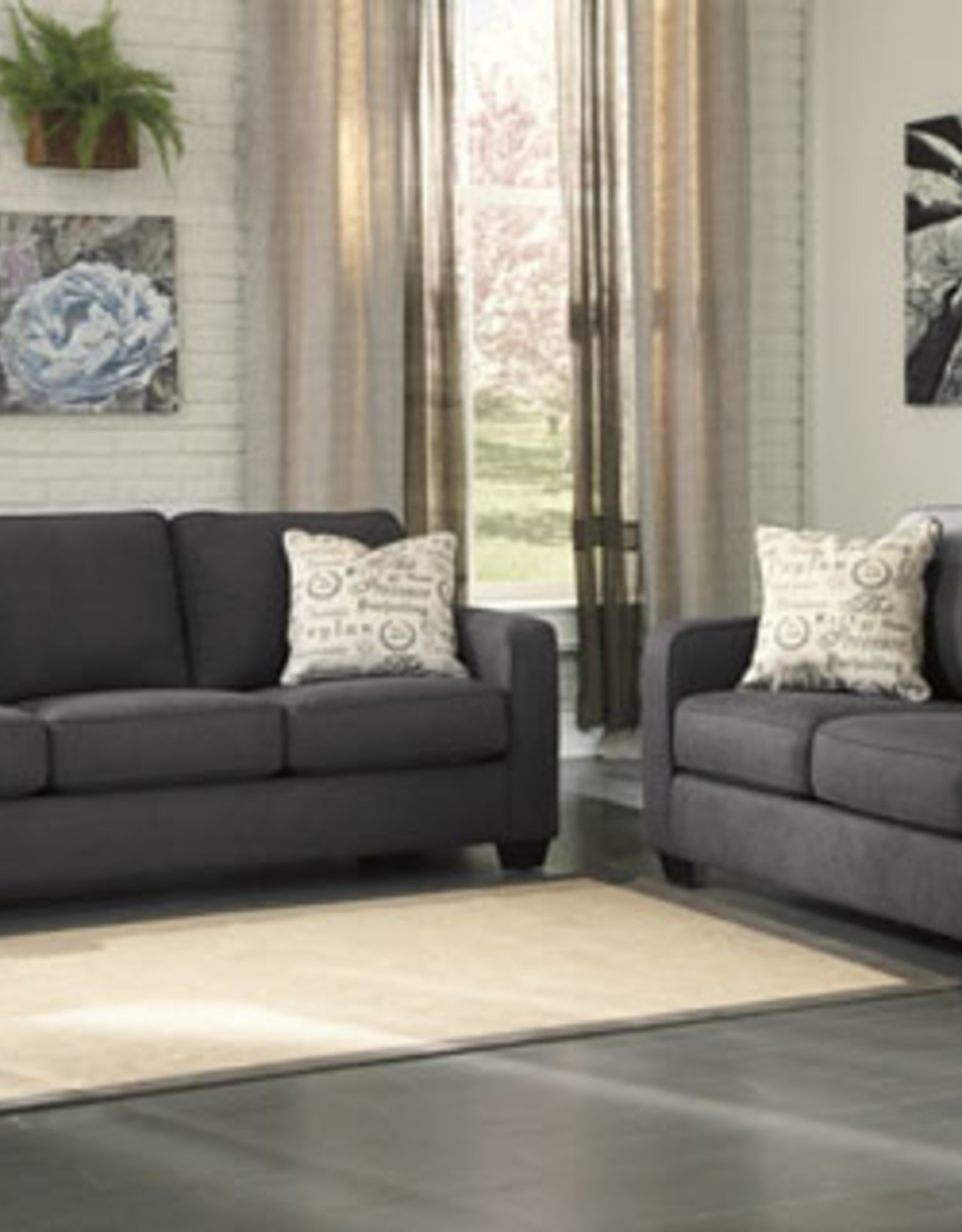 Alenya Loveseat (Charcoal) Displayed in Quartz in Showroom