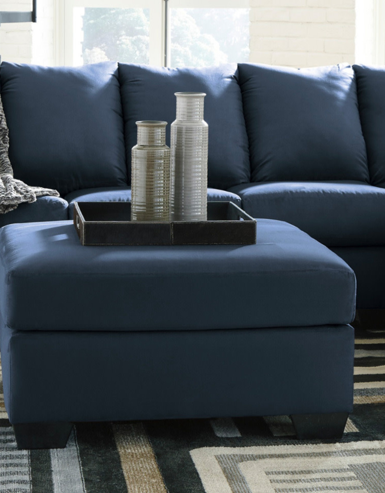 Darcy Ottoman (Blue) - Online Only