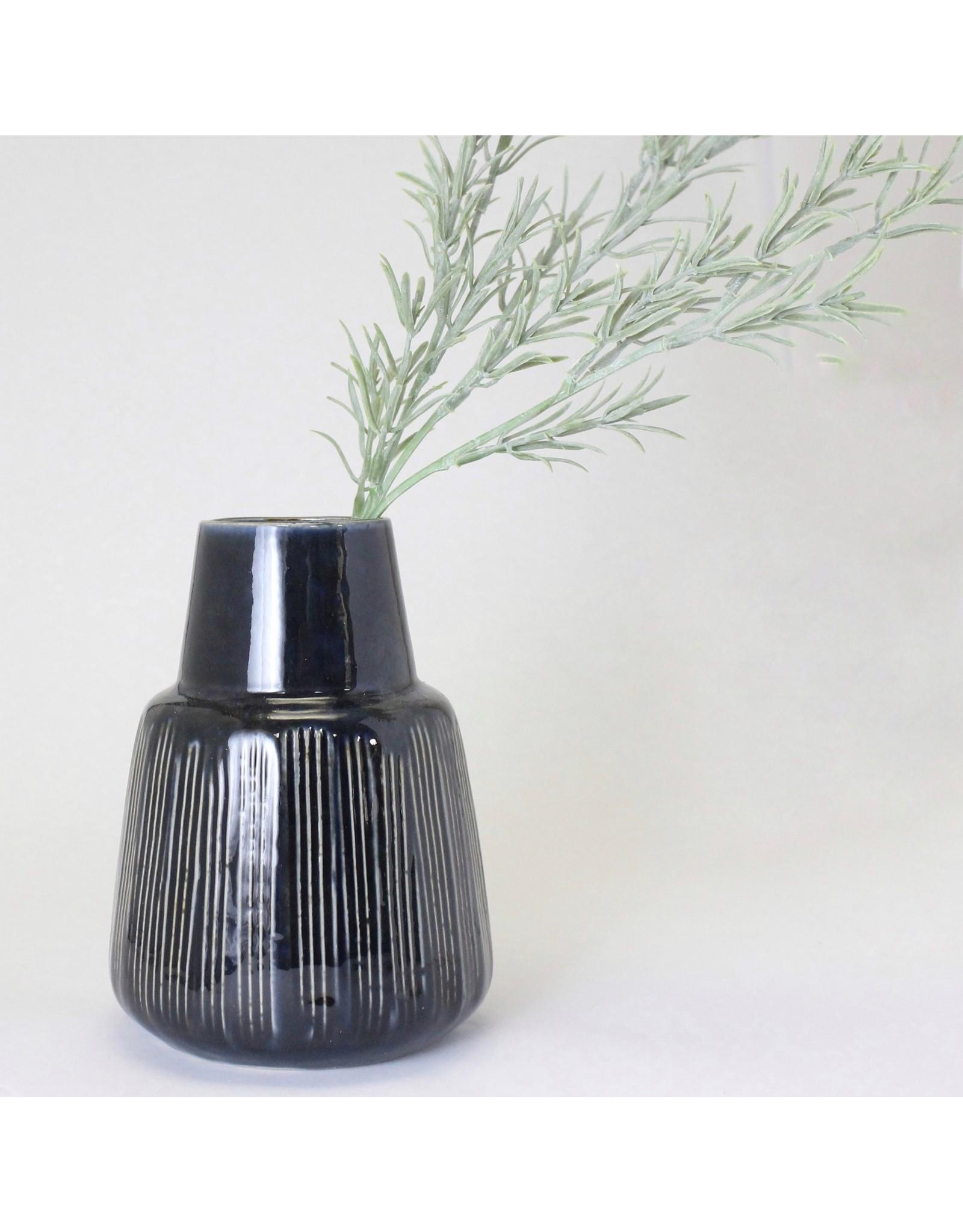 Navy Blue Stripped Stoneware Vase