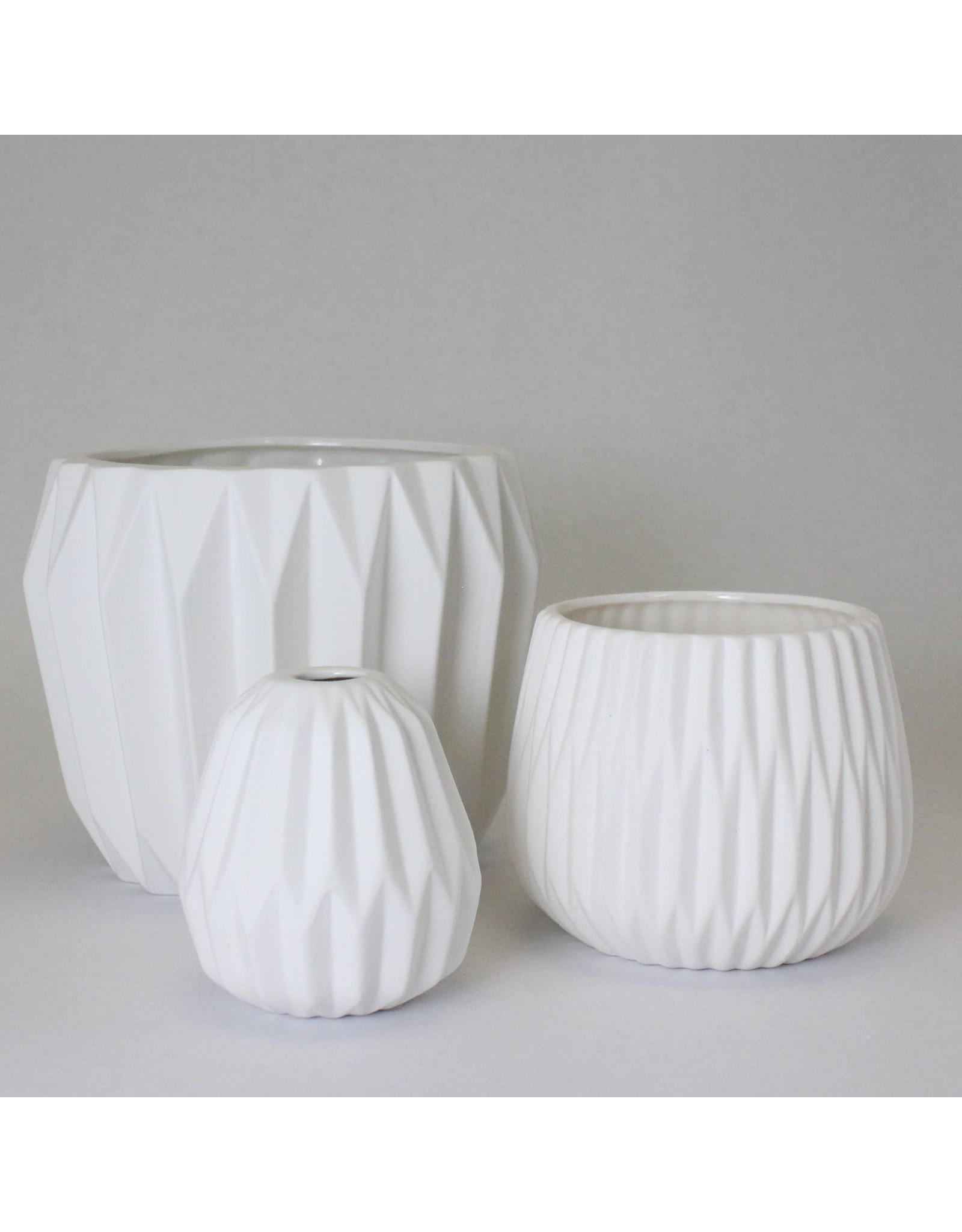 White Stoneware Fluted Vase