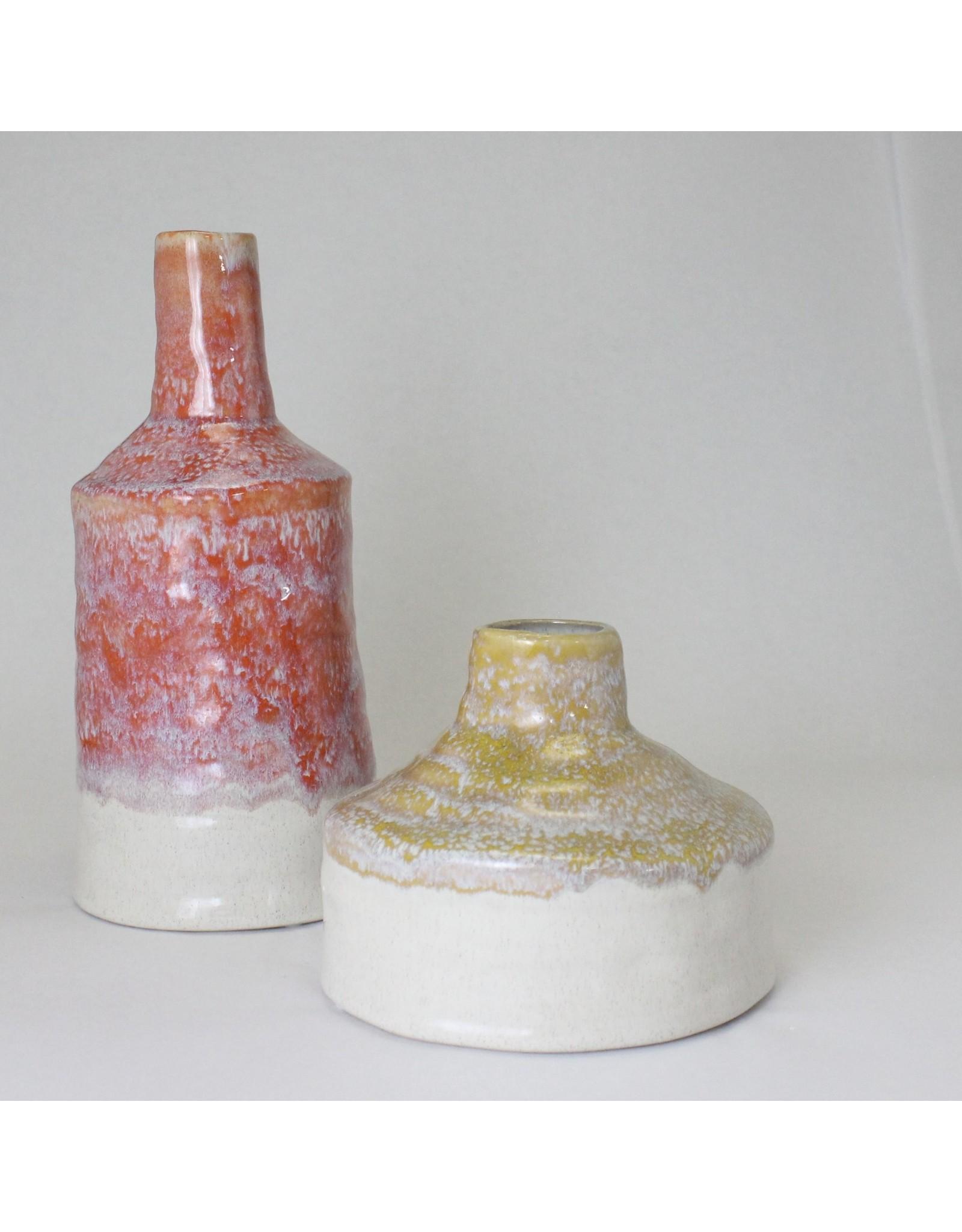 Salmon and Cream Stoneware Vase Glaze