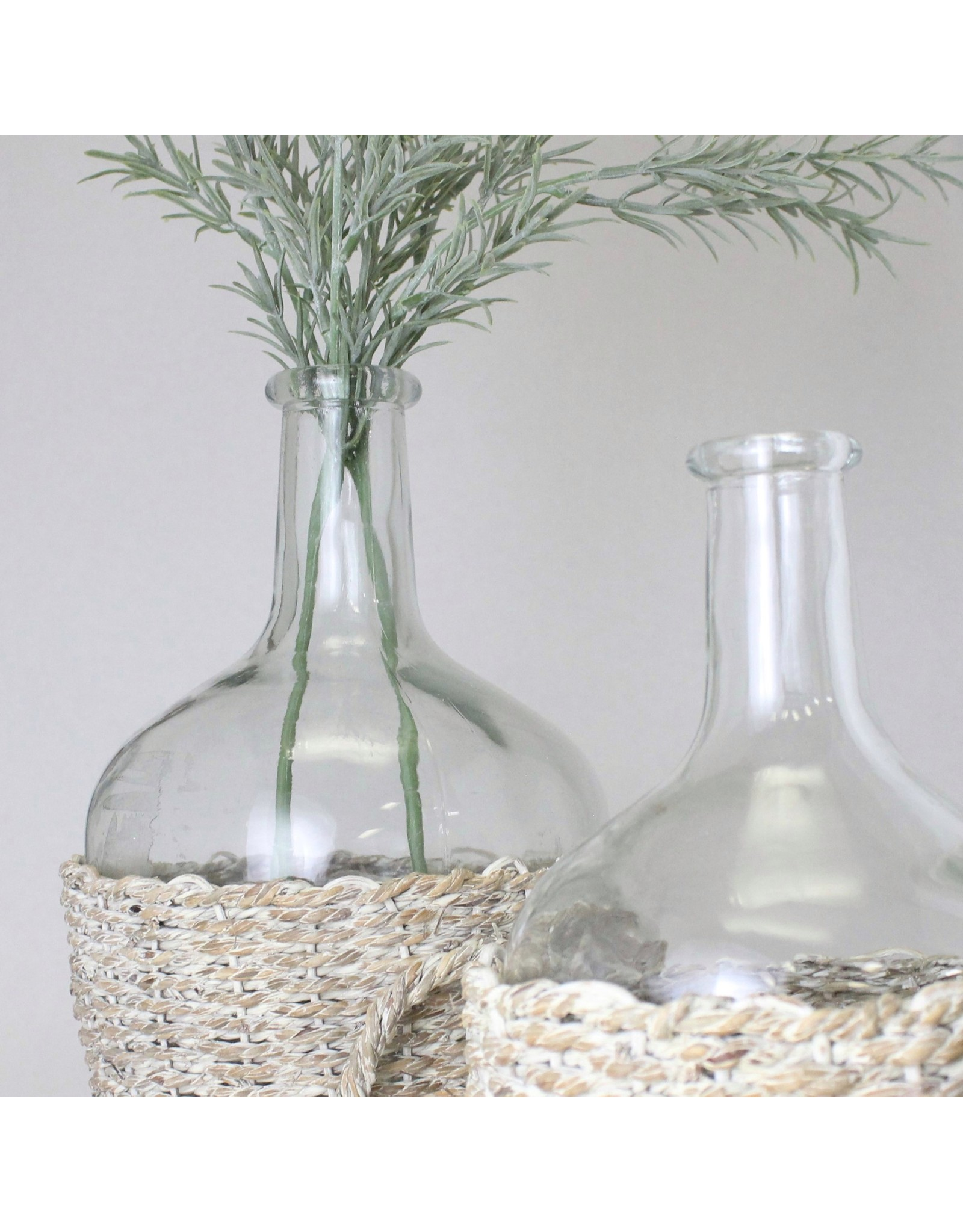 Glass Bottle with Woven Seagrass Basket, Large