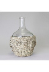 Glass Bottle with Woven Seagrass Basket, Small