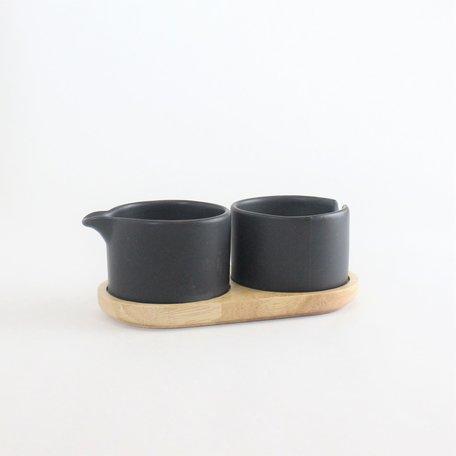 Black Stoneware Cream & Sugar