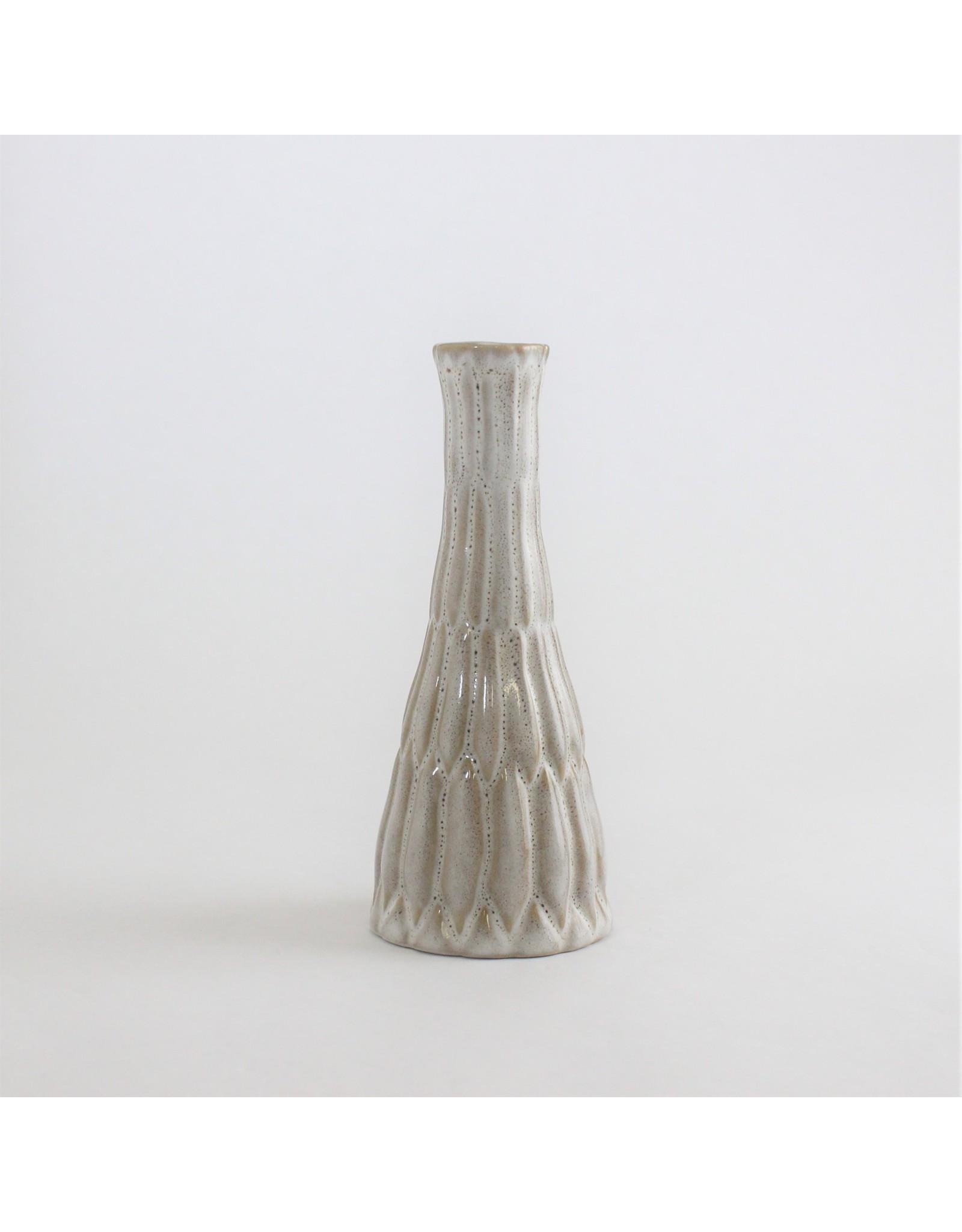 Brown-Cream Stoneware Vase