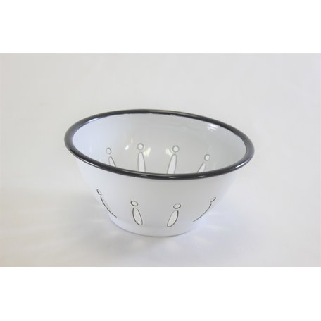 Black & White Enameled Berry Bowl