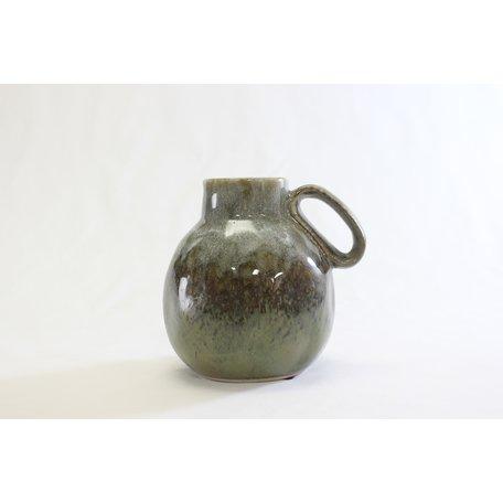 Green Reactive Glaze Stoneware Vase w/ Handle