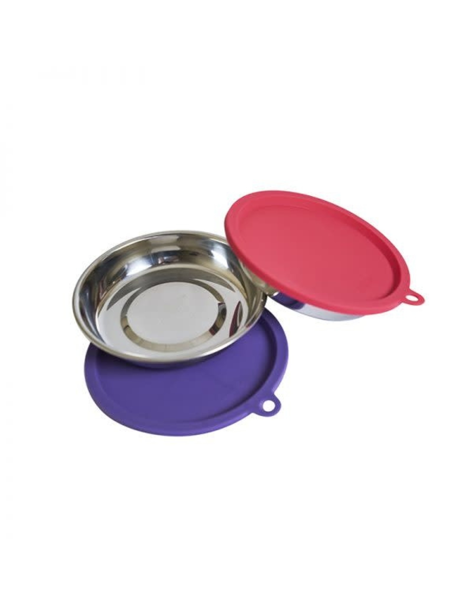 Messy Cats Messy Cats 4pc Set 2 SS Bowls w/ Silicone Lids