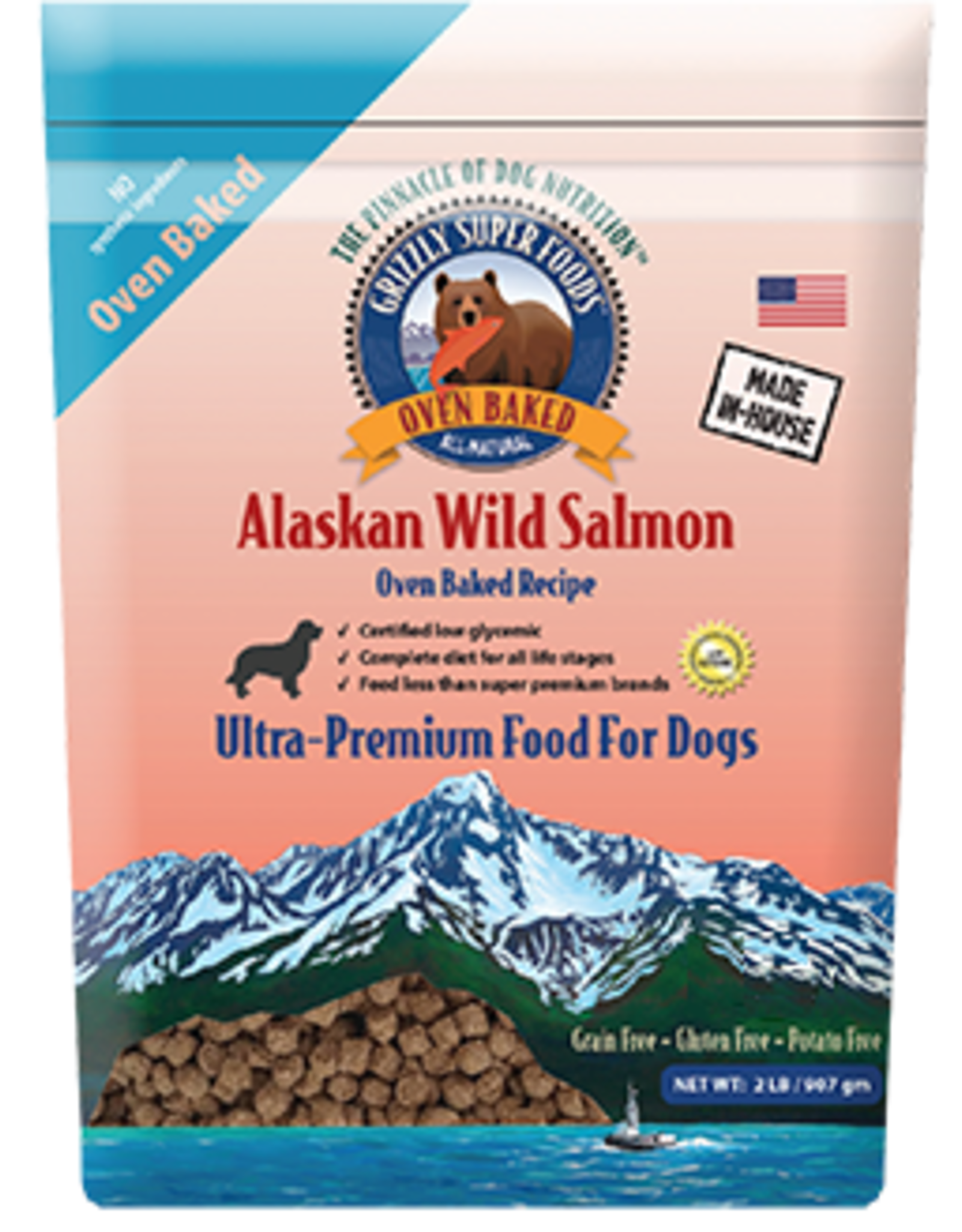 Grizzly Pet Products Grizzly Super Foods Alaska Wild Salmon Oven Baked Recipe Dog Food 3 lb