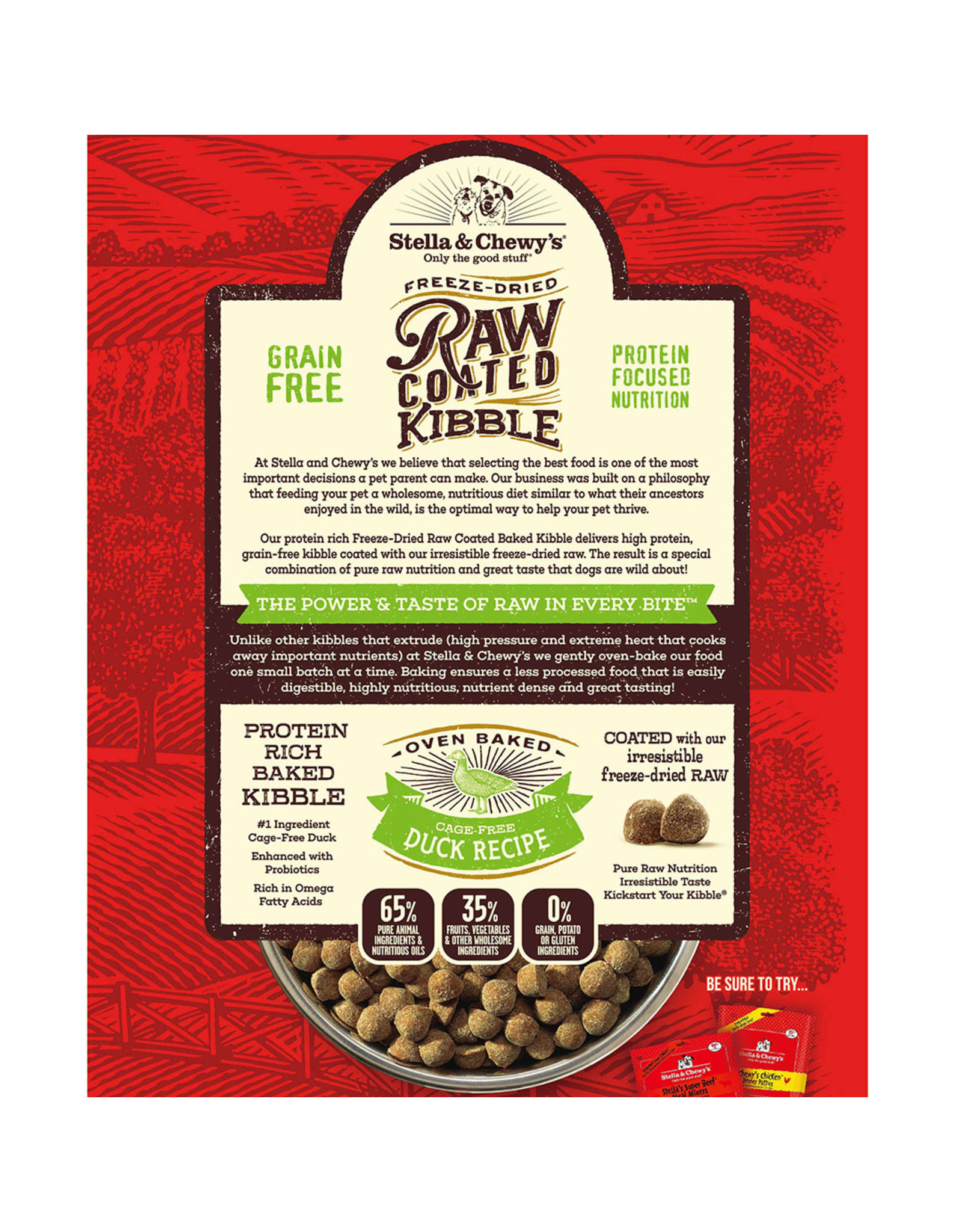 Stella & Chewy's Stella & Chewy's Raw Coated Kibble Cage-Free Duck Recipe Dog Food 22lb