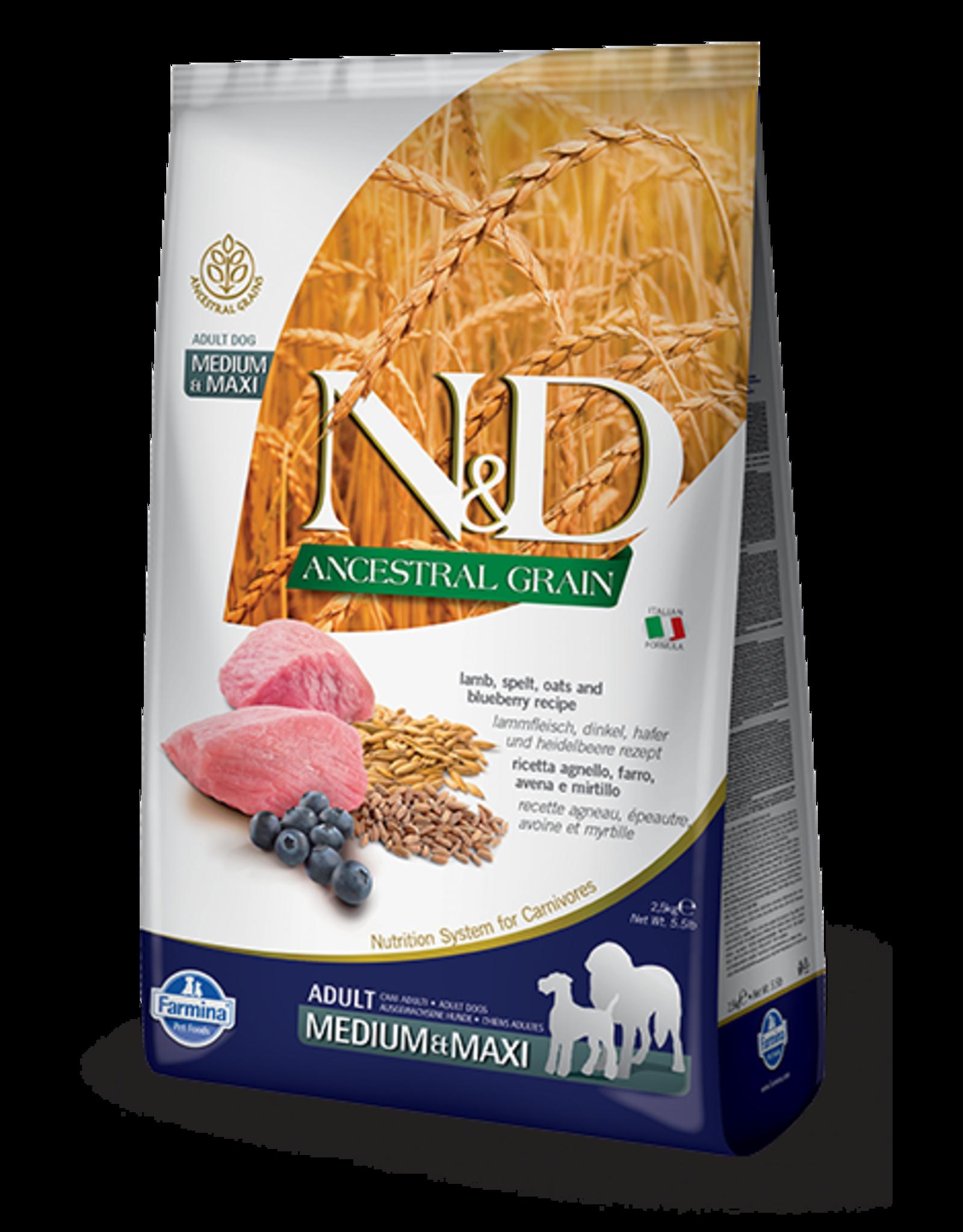 Farmina N&D Farmina N&D Ancestral Grain Lamb & Blueberry Adult Med/Max Dog Food