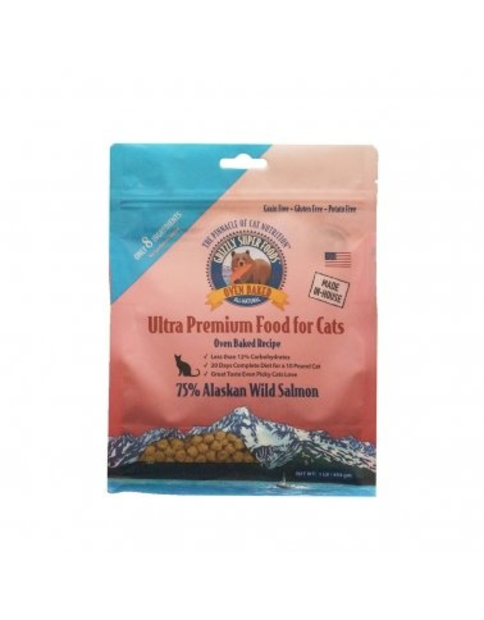 Grizzly Pet Products Grizzly Super Foods Wild Alaska Salmon Oven Baked Recipe Cat Food