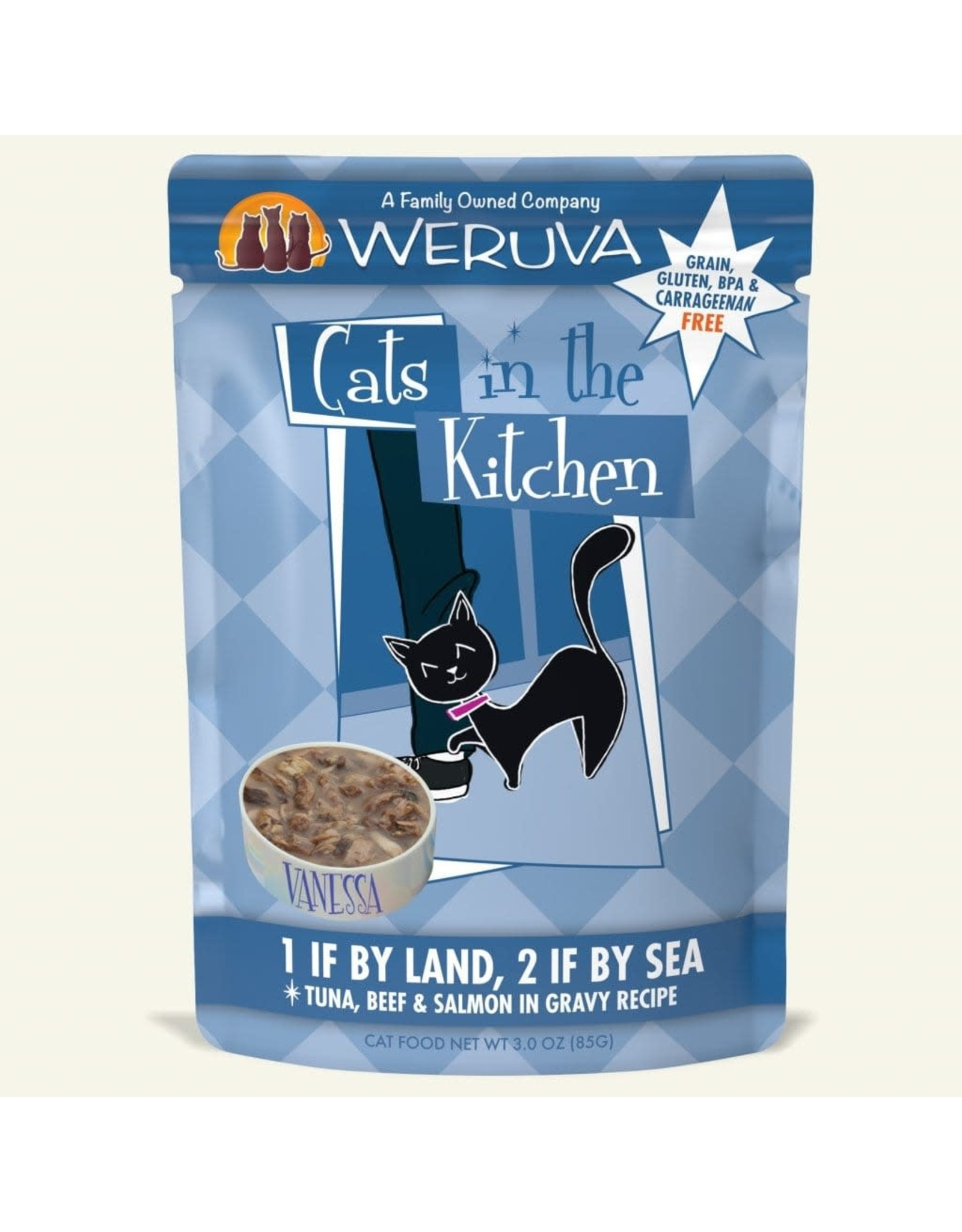 Weruva Weruva Cats in the Kitchen 1 if by Land, 2 if by Sea Tuna, Beef & Salmon in Gravy Cat Food 3oz Pouch