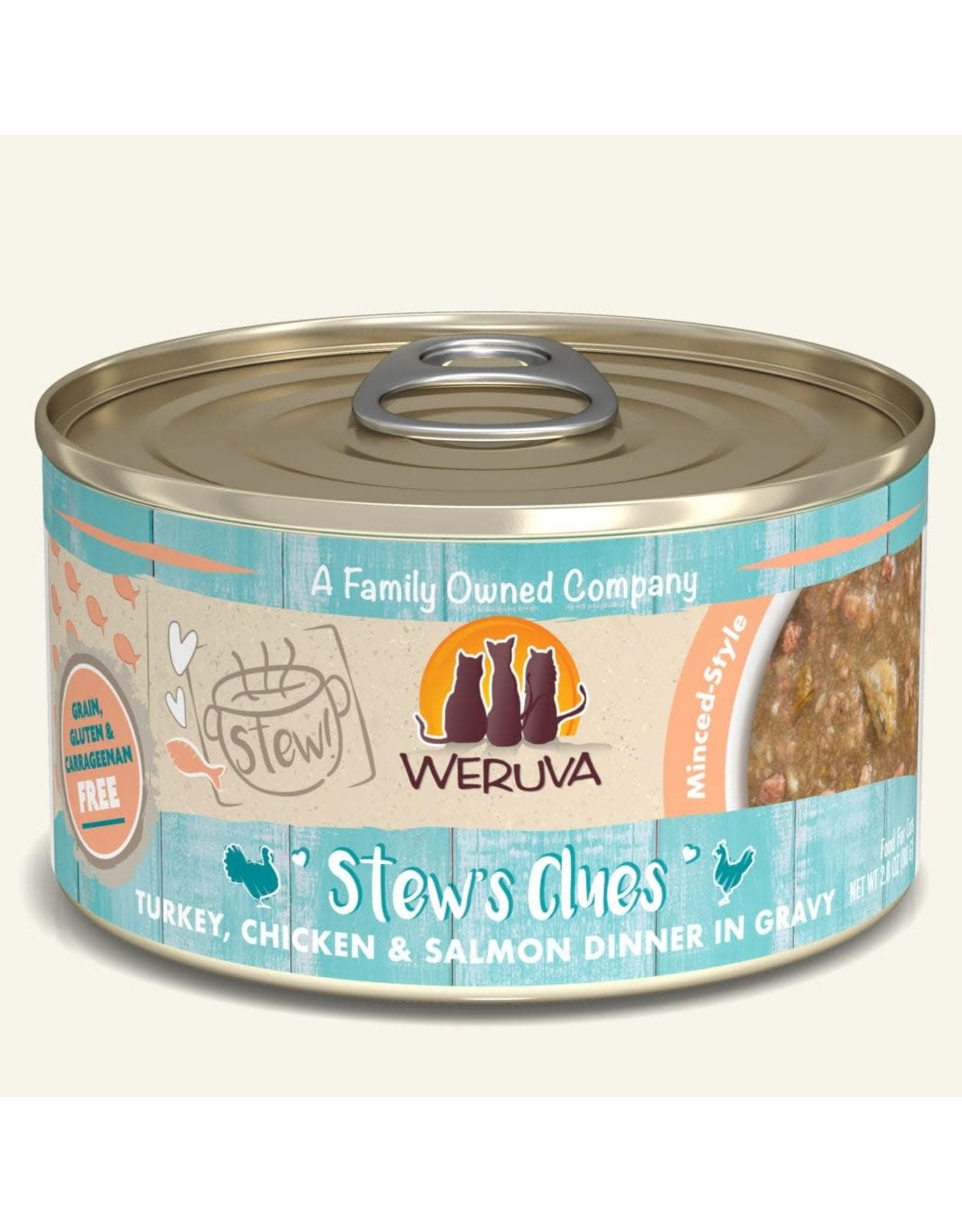 Weruva Weruva Stews Clues Turkey, Chicken & Salmon Dinner in Gravy Cat Food 2.8oz