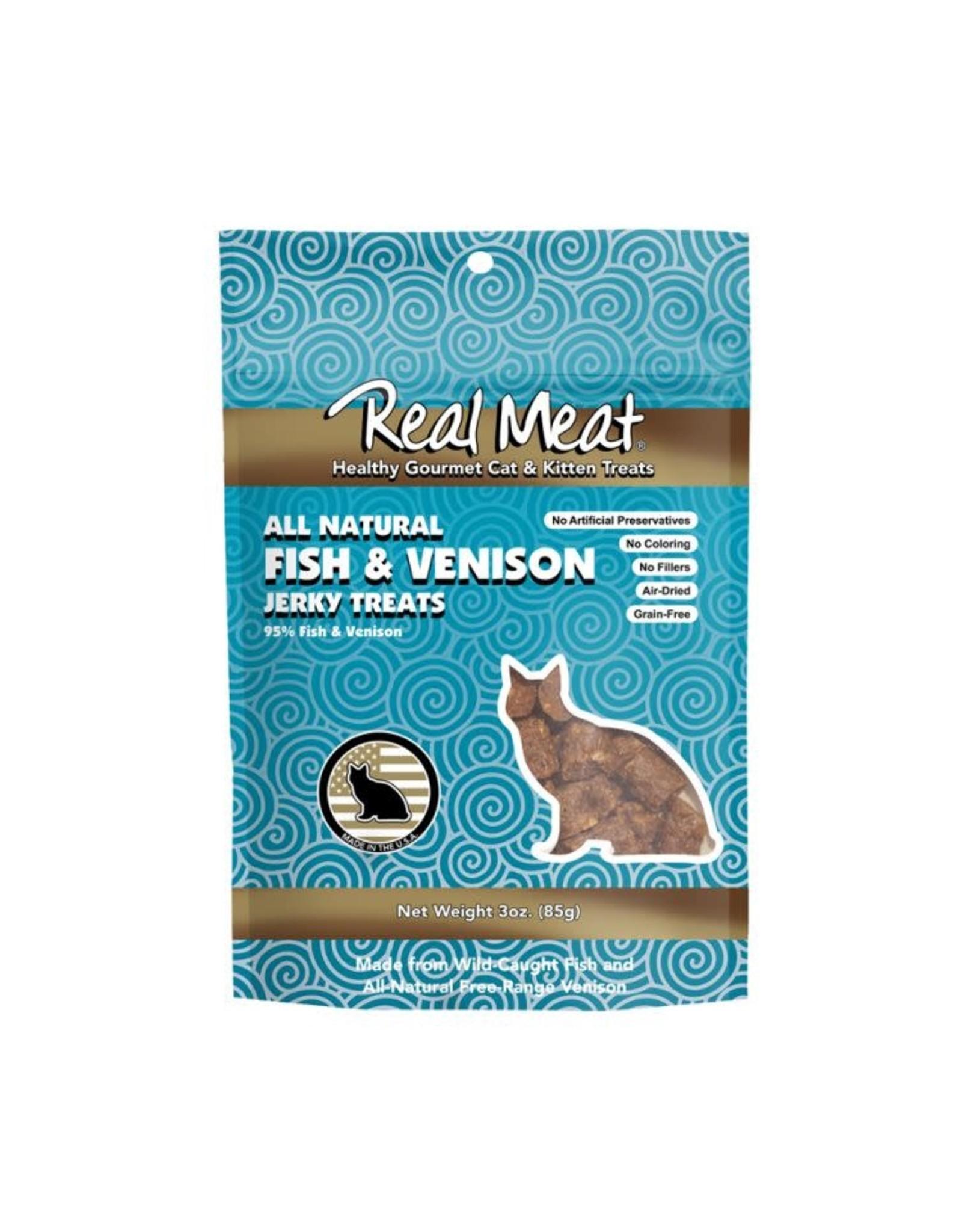 The Real Meat Company Real Meat Fish & Venison Jerky Cat Treats 3oz.