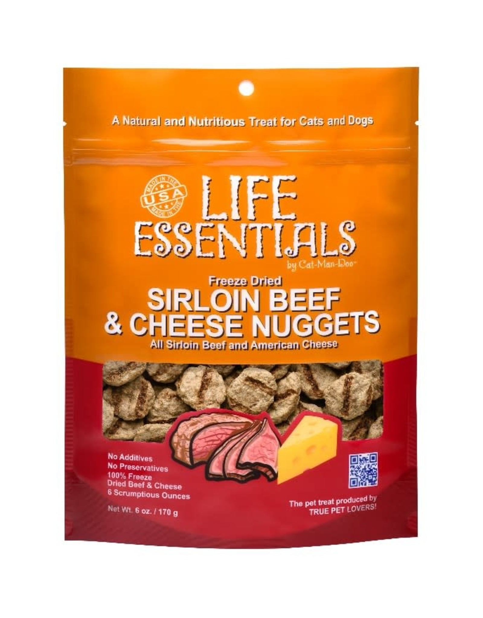 Cat-Man-Doo Cat-Man-Doo Life Essentials Freeze Dried Sirloin Beef and Cheese Nuggets 3oz
