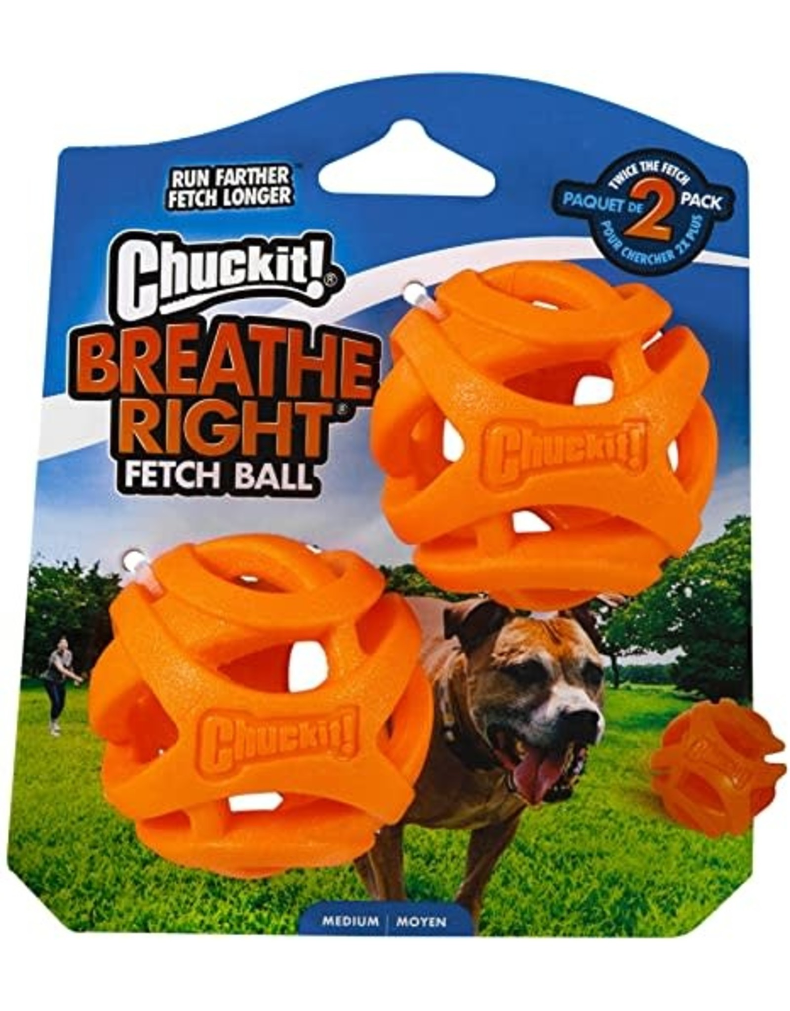 Chuckit! Chuckit! Breathe Right Fetch Ball Dog Toy Medium 2pk