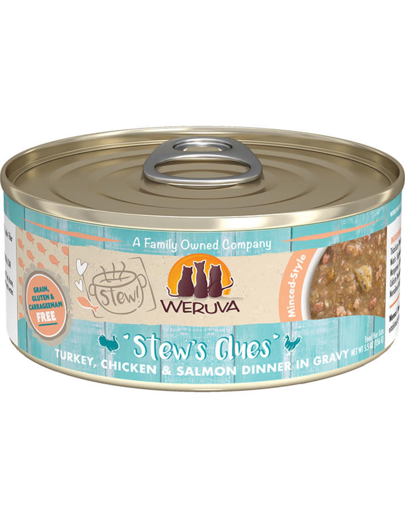 Weruva Weruva Stews Clues Turkey, Chicken & Salmon Dinner in Gravy Cat Food 5.5oz