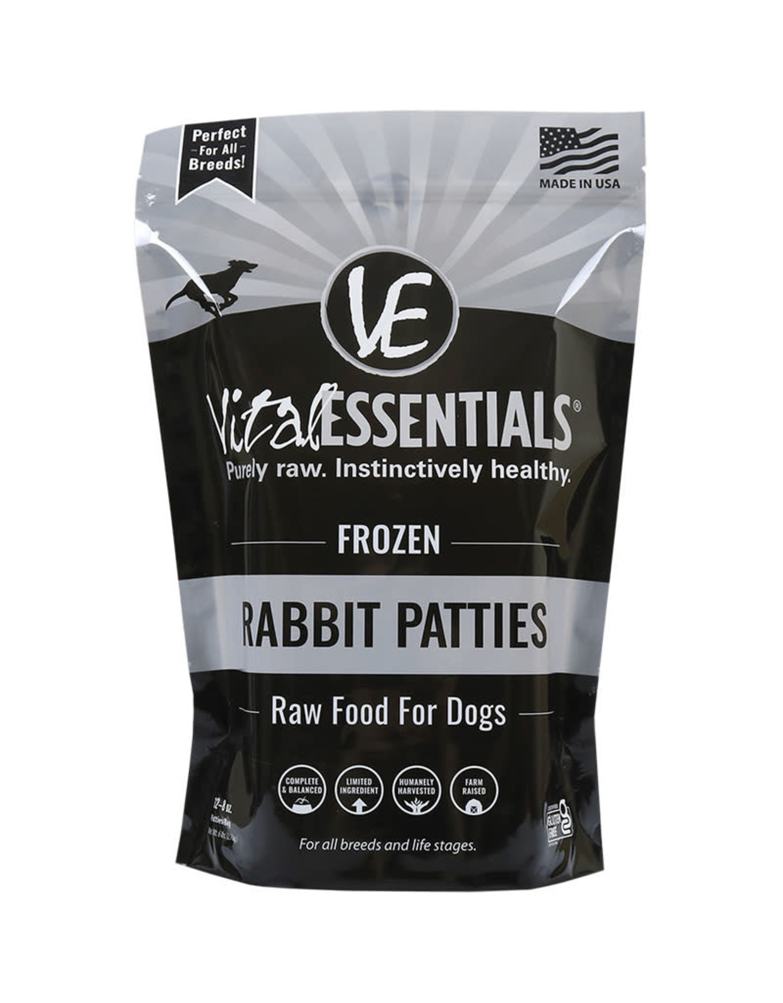 Vital Essentials Vital Essentials Frozen Rabbit Patties Raw Food For Dogs 6lb