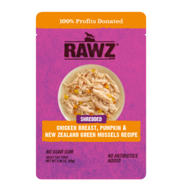 Rawz Rawz Shredded Chicken Breast , Pumpkin & New Zealand Green Mussel Cat Food 2.46oz pouch