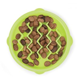 Outward Hound Outward Hound Fun Feeder Slo-Bowl for Cats - Green Wave 3/4 cup