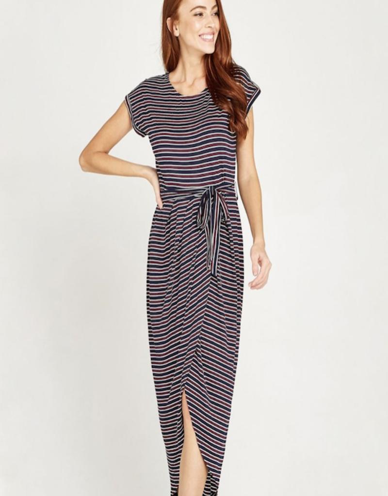 Apricot Stripe Jersey Wrap Skirt Dress
