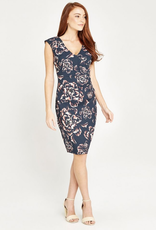 Apricot Apricot Cabbage Rose V Neck Ruched Dress