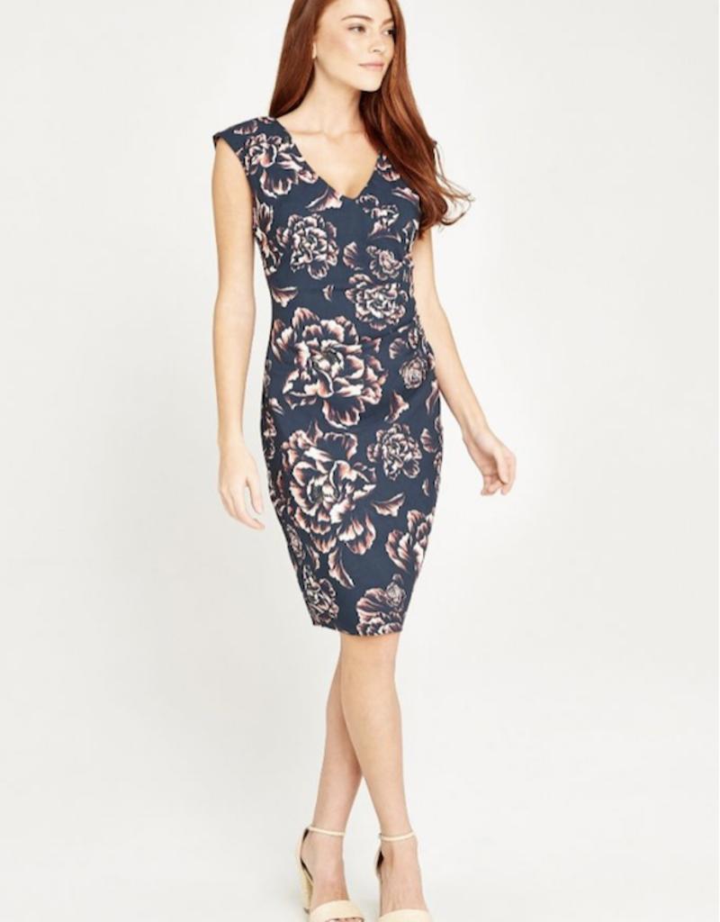 Apricot Cabbage Rose V Neck Ruched Dress