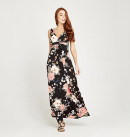 Apricot Apricot Oriental Bunches Print Maxi Dress