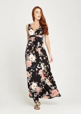 Apricot Oriental Bunches Print Maxi Dress