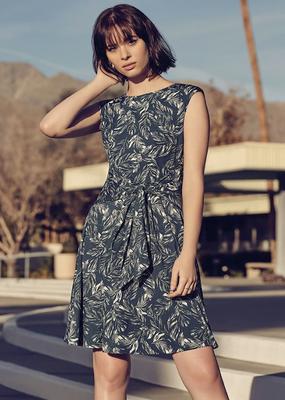 Apricot Leaf Print Dress