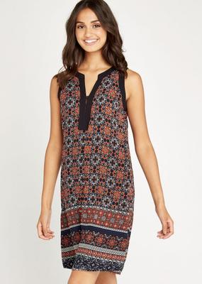 Apricot Tile Border Shift Dress