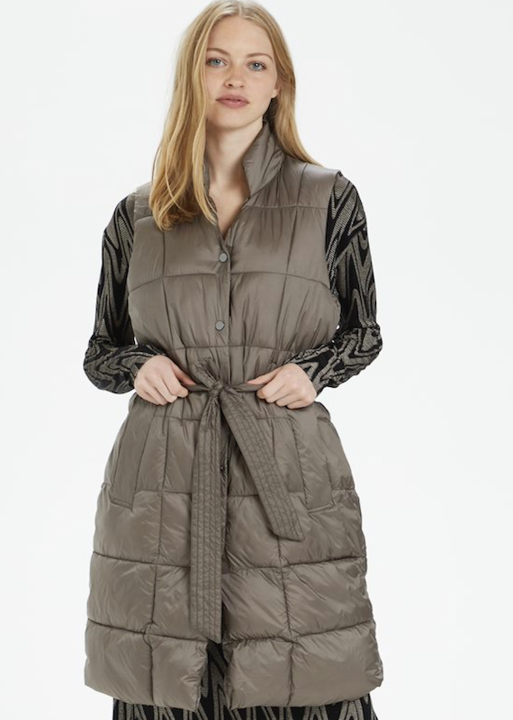 Cream Celina Long Quilted Vest