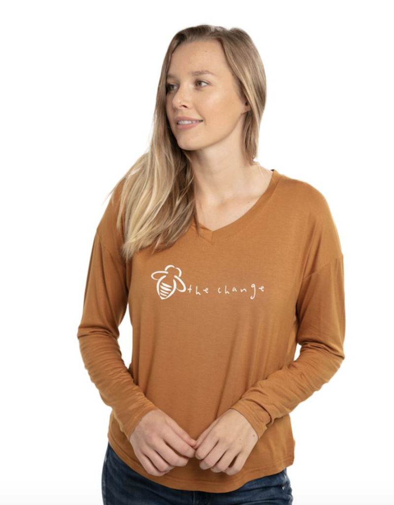 """Bee Attitudes """"Bee the Change"""" V Neck Top"""