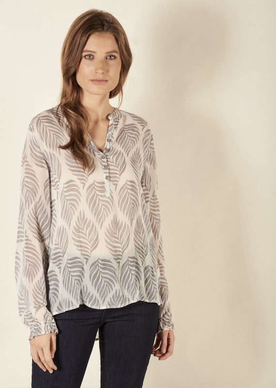 Nile Button Front LS Chiffon Blouse