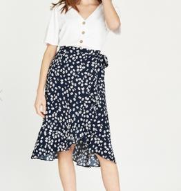 Apricot Floral Wrap Skirt