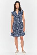 Apricot Ruffle Shoulder Dress