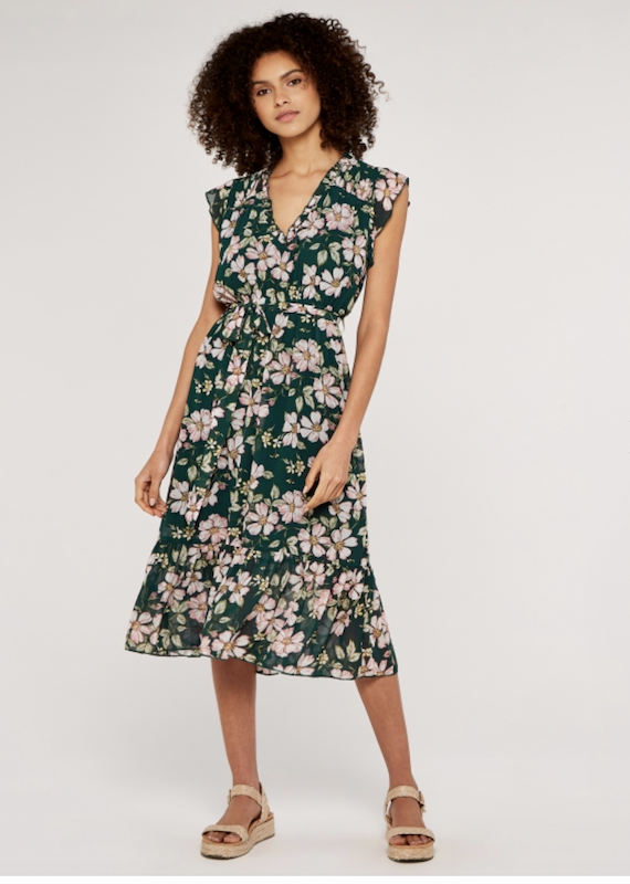 Apricot Vintage Floral Midi Dress