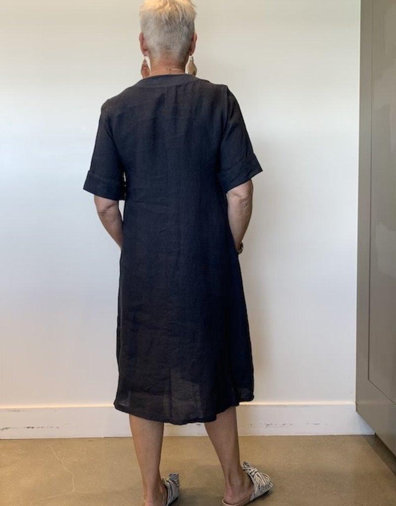 Peruzzi Linen V Neck Swing Dress