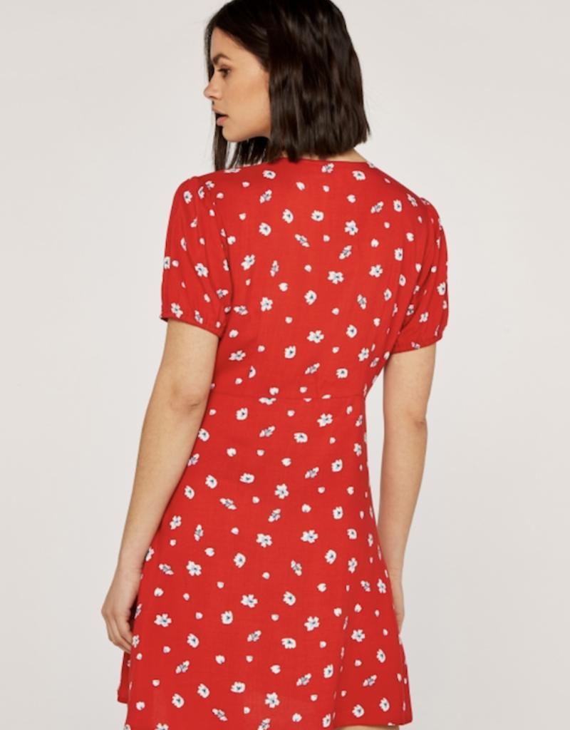 Apricot Floral Spot Button Down Dress