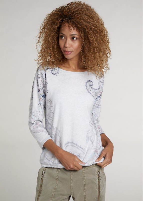 Oui Paisley Pullover with Tie