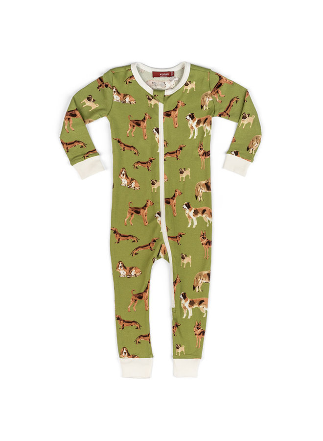Organic Cotton Zipper Pajamas in Cotton Bag - Green Dog