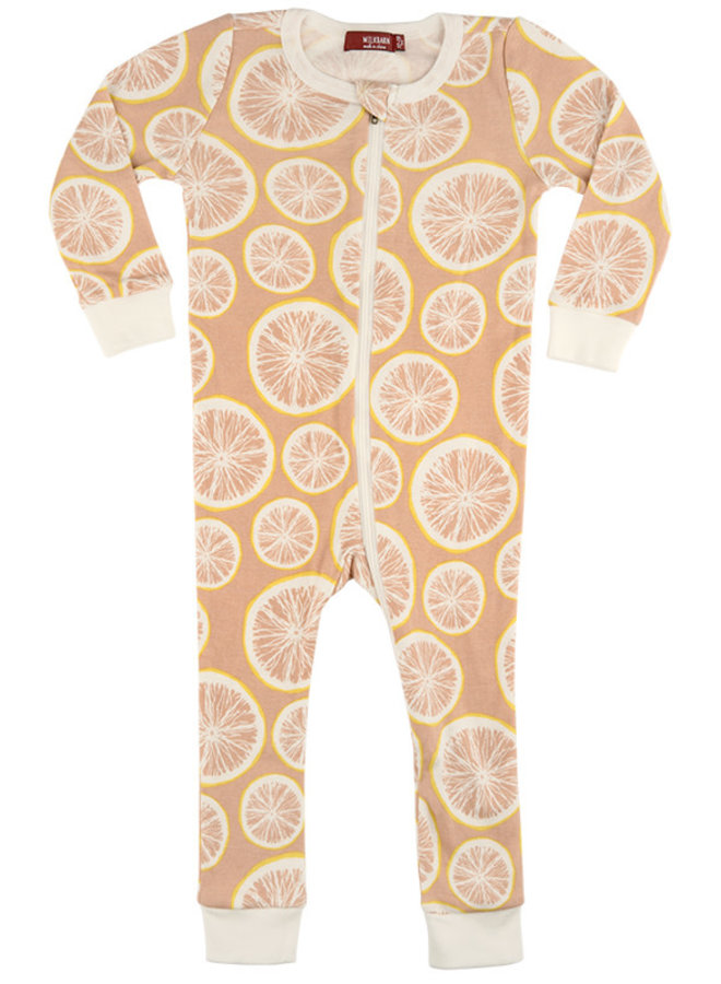 Organic Cotton Zipper Pajamas in Cotton Bag - Grapefruit