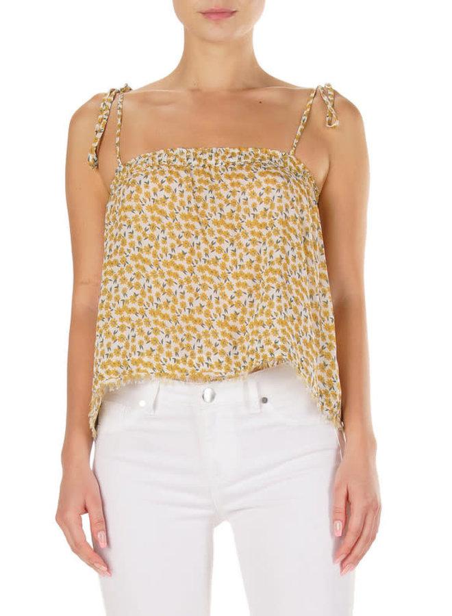 Yellow Daisy Tank Top w/ Tie Straps