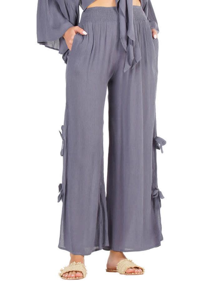 Gauze Pants w/ Side Ties - Blue